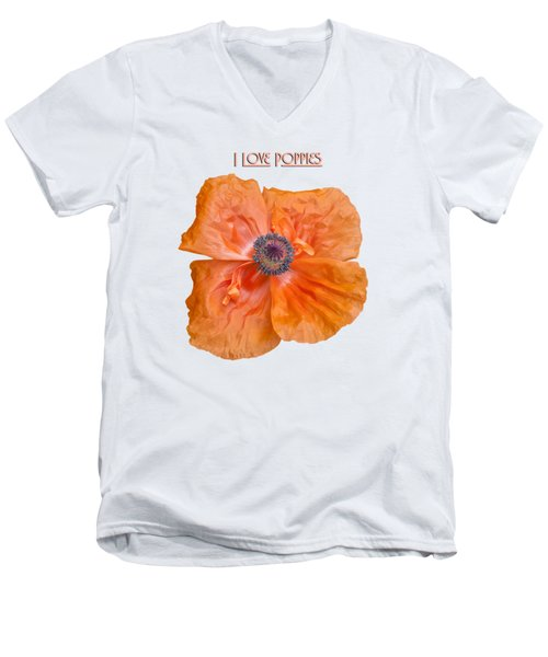 Men's V-Neck T-Shirt featuring the photograph I Love Poppies by Thomas Young