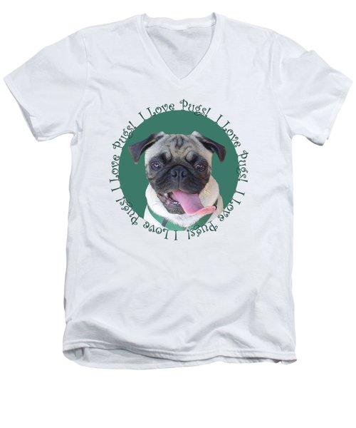I Love Pugs Men's V-Neck T-Shirt