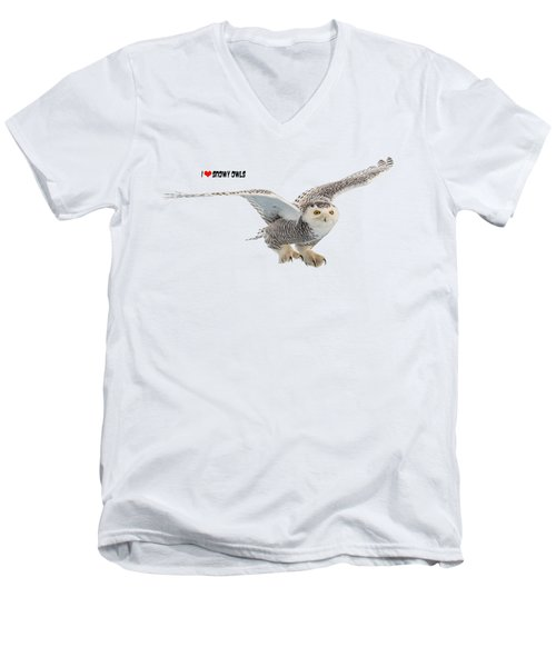 I Love Snowy Owls T-shirt Men's V-Neck T-Shirt