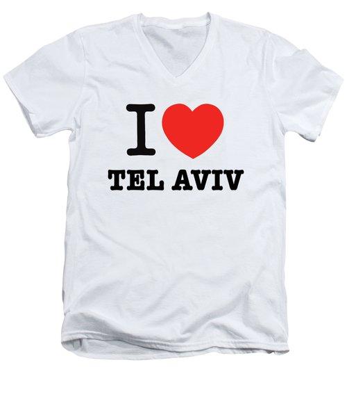 i love Tel Aviv Men's V-Neck T-Shirt by Ron Shoshani