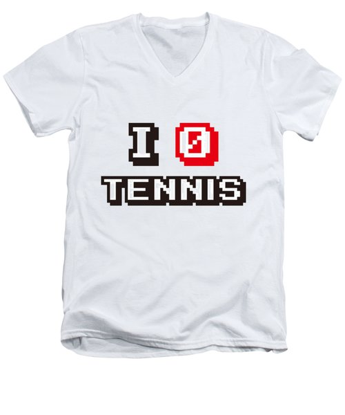 I Love Tennis Men's V-Neck T-Shirt by Pillo Wsoisi