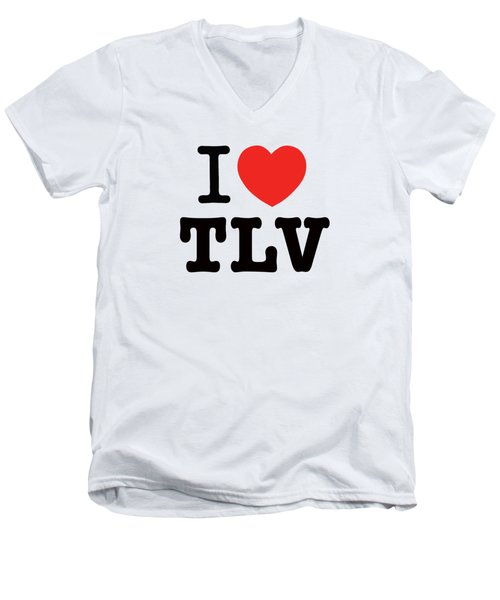 Men's V-Neck T-Shirt featuring the photograph i love TLV by Ron Shoshani