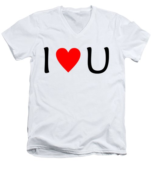 I Love You T-shirt Men's V-Neck T-Shirt by Isam Awad