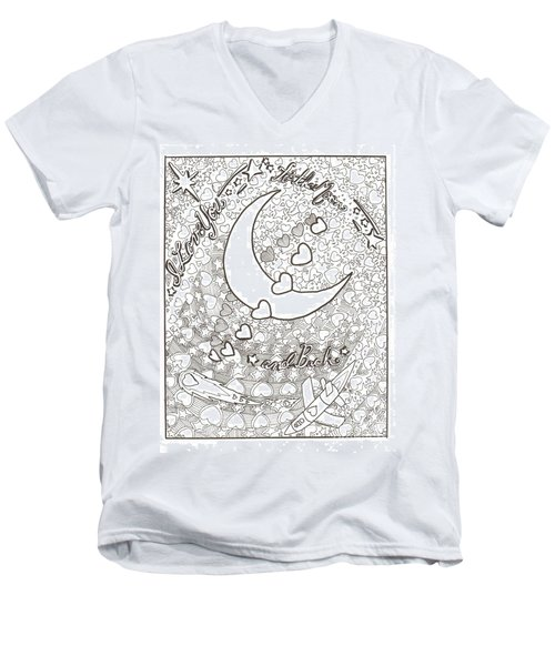 I Love You To The Moon And Back Men's V-Neck T-Shirt by Wendy Coulson