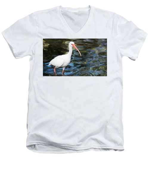 Ibis In The Swamp Men's V-Neck T-Shirt by Kenneth Albin