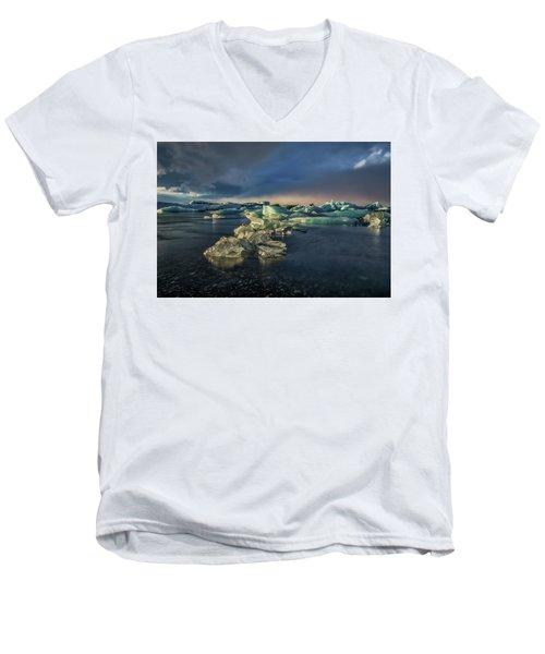 Ice Chunks Men's V-Neck T-Shirt by Allen Biedrzycki