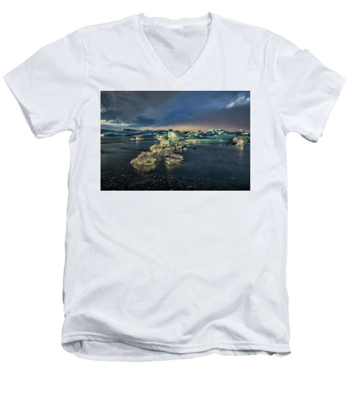Men's V-Neck T-Shirt featuring the photograph Ice Chunks by Allen Biedrzycki