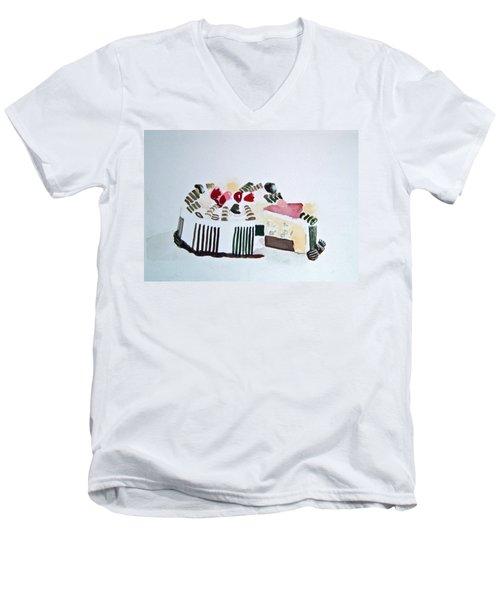 Ice Cream Cake Watercolor Men's V-Neck T-Shirt