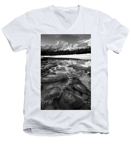 Ice On The Athabasca Men's V-Neck T-Shirt by Dan Jurak