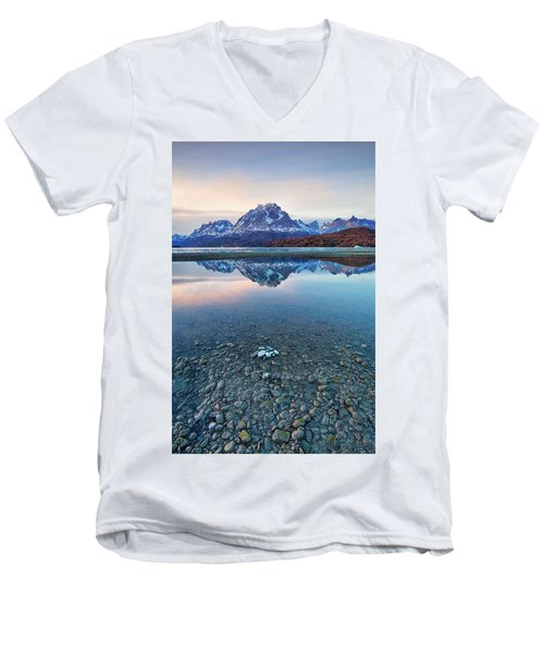 Men's V-Neck T-Shirt featuring the photograph Icebergs And Mountains Of Torres Del Paine National Park by Phyllis Peterson
