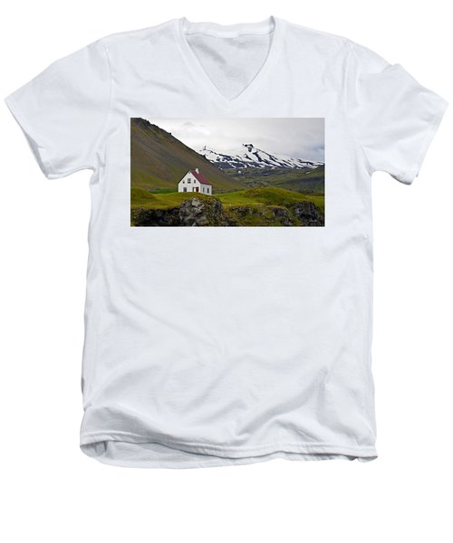 Men's V-Neck T-Shirt featuring the photograph Iceland House And Glacier by Joe Bonita