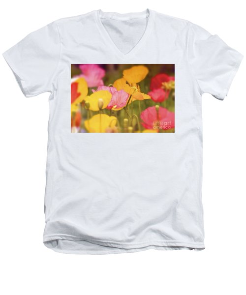 Iceland Poppies Warmly Men's V-Neck T-Shirt
