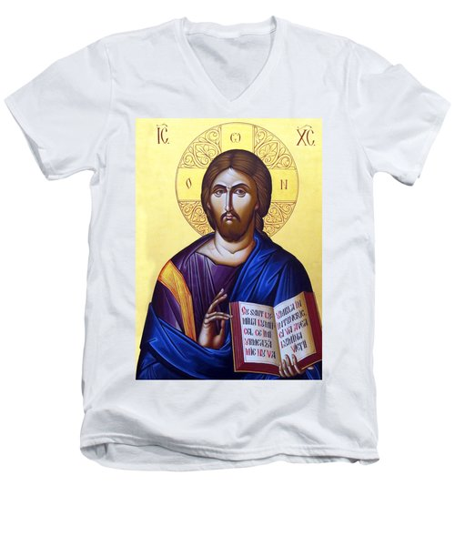 Icon Of Christ In Jericho Men's V-Neck T-Shirt