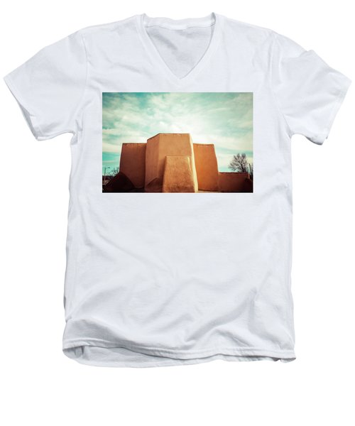 Men's V-Neck T-Shirt featuring the photograph Iconic Church In Taos by Marilyn Hunt
