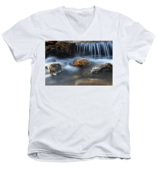 Icy Rocks On The Coxing Kill #1 Men's V-Neck T-Shirt by Jeff Severson