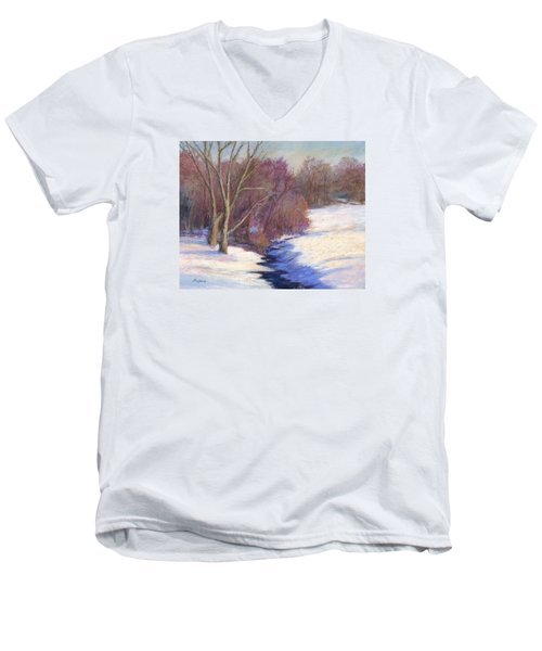 Men's V-Neck T-Shirt featuring the painting Icy Stream by Vikki Bouffard
