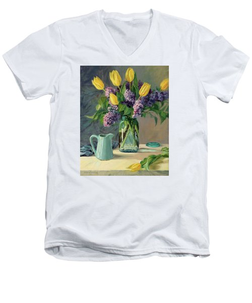 Ideal - Yellow Tulips And Lilacs In A Blue Mason Jar Men's V-Neck T-Shirt by Bonnie Mason
