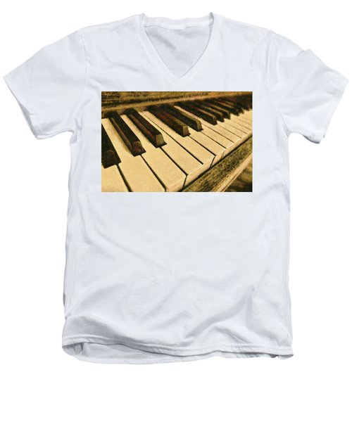 Men's V-Neck T-Shirt featuring the painting If Monet Played by Harry Warrick