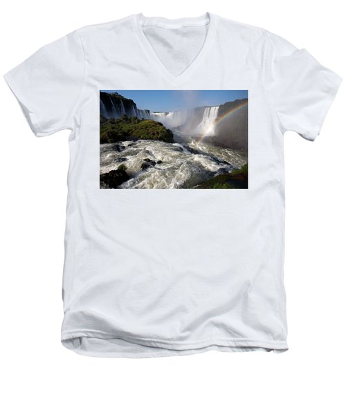 Iguassu Falls With Rainbow Men's V-Neck T-Shirt