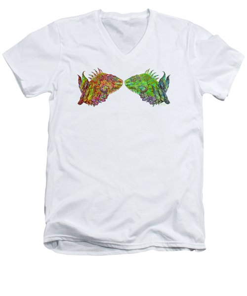 Men's V-Neck T-Shirt featuring the mixed media Iguana Love by Carol Cavalaris