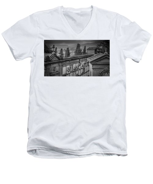 Il Cimitero E Il Duomo Men's V-Neck T-Shirt by Sonny Marcyan