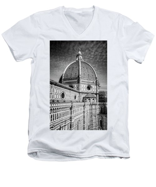 Men's V-Neck T-Shirt featuring the photograph Il Duomo Florence Italy Bw by Joan Carroll