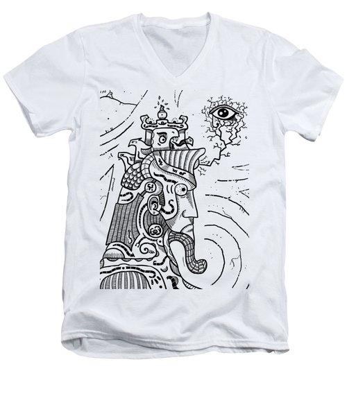 Surrealism Illuminati Black And White Men's V-Neck T-Shirt