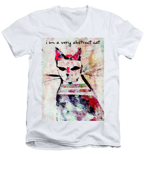 Men's V-Neck T-Shirt featuring the mixed media I'm A Very Abstract Cat by John Fish
