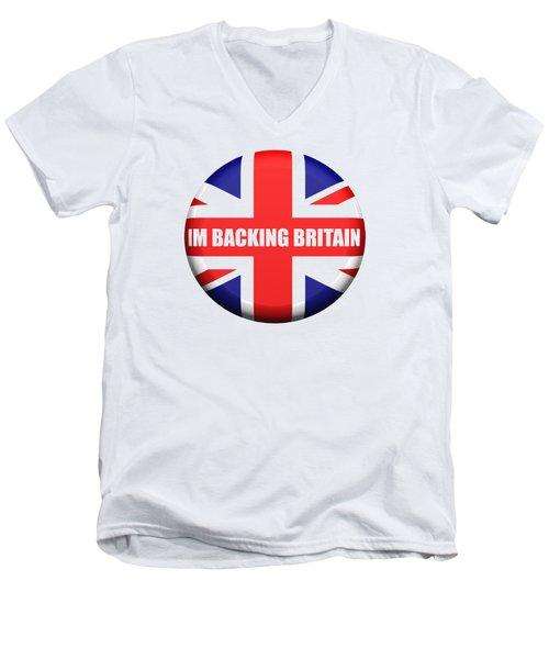 Im Backing Britain Men's V-Neck T-Shirt by Roger Lighterness