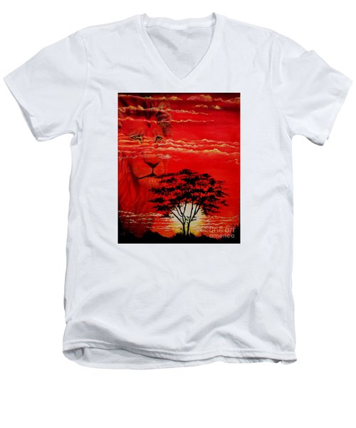 In An Arfican Sunset Men's V-Neck T-Shirt