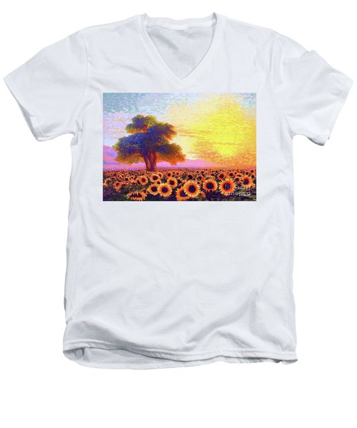In Awe Of Sunflowers, Sunset Fields Men's V-Neck T-Shirt