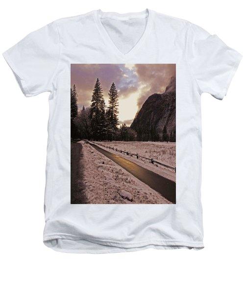 In Between Snow Falls Men's V-Neck T-Shirt by Walter Fahmy