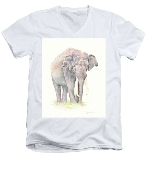 Men's V-Neck T-Shirt featuring the painting In Charge by Elizabeth Lock