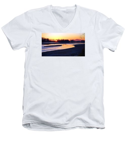 The Fraser River Men's V-Neck T-Shirt by Heather Vopni