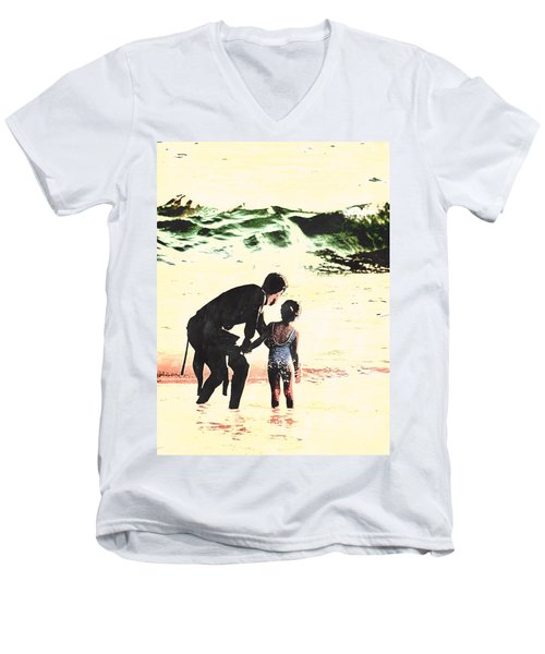 In Daddy's Arms Men's V-Neck T-Shirt