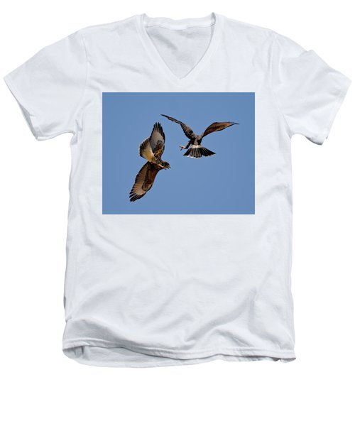 Men's V-Neck T-Shirt featuring the photograph In Flight Challenge H43 by Mark Myhaver