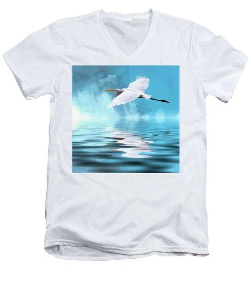 In Flight Men's V-Neck T-Shirt by Cyndy Doty