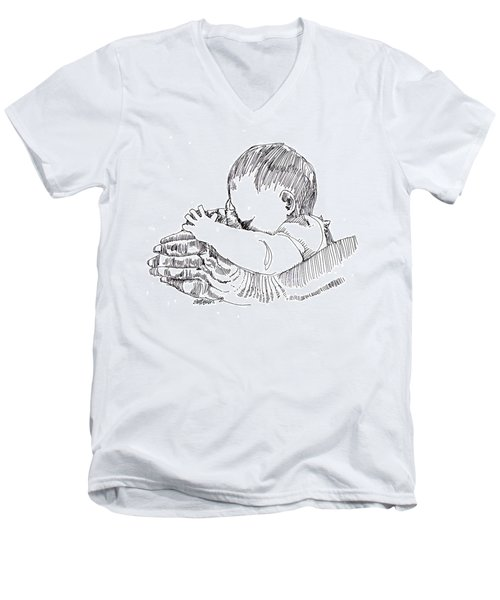 Men's V-Neck T-Shirt featuring the drawing In His Hands by Seth Weaver