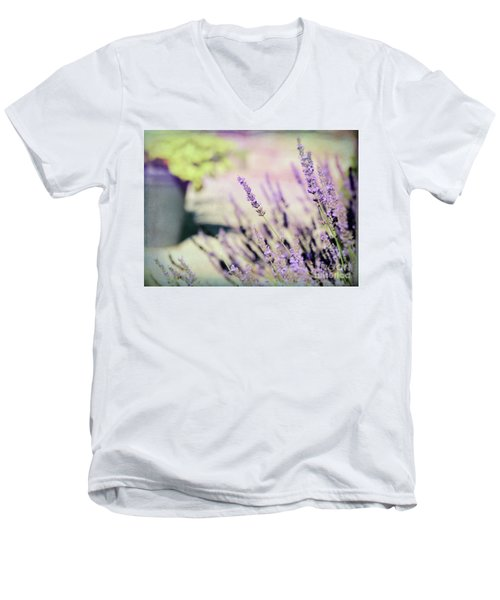 Men's V-Neck T-Shirt featuring the photograph In Love With Lavender by Kerri Farley