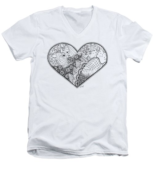 Men's V-Neck T-Shirt featuring the drawing In Motion by Ana V Ramirez
