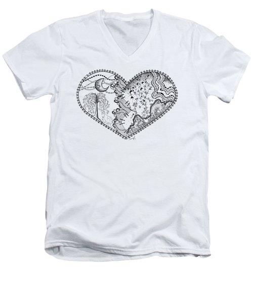 Repaired Heart Men's V-Neck T-Shirt by Ana V Ramirez