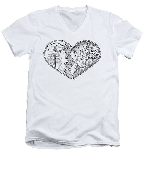 Men's V-Neck T-Shirt featuring the drawing Repaired Heart by Ana V Ramirez