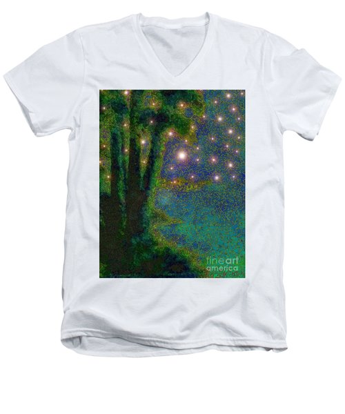 In The Beginning God... Men's V-Neck T-Shirt by Hazel Holland