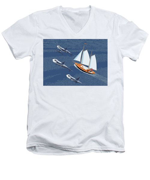 Men's V-Neck T-Shirt featuring the digital art In The Company Of Whales by Gary Giacomelli