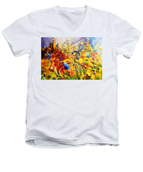 Men's V-Neck T-Shirt featuring the painting In The Meadow by Georg Douglas