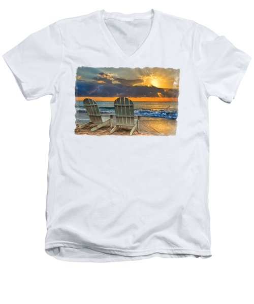 Men's V-Neck T-Shirt featuring the photograph In The Spotlight Bordered by Debra and Dave Vanderlaan