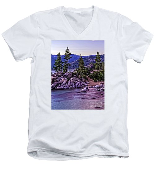 Men's V-Neck T-Shirt featuring the photograph In The Still Of Dusk by Nancy Marie Ricketts