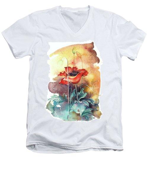 In The Turquoise Coat Men's V-Neck T-Shirt by Anna Ewa Miarczynska