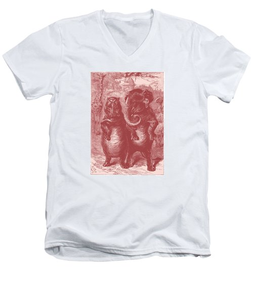Men's V-Neck T-Shirt featuring the drawing In The Zoo by David Davies