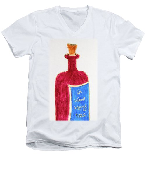 Men's V-Neck T-Shirt featuring the drawing In Vino Very Tas by Frank Tschakert